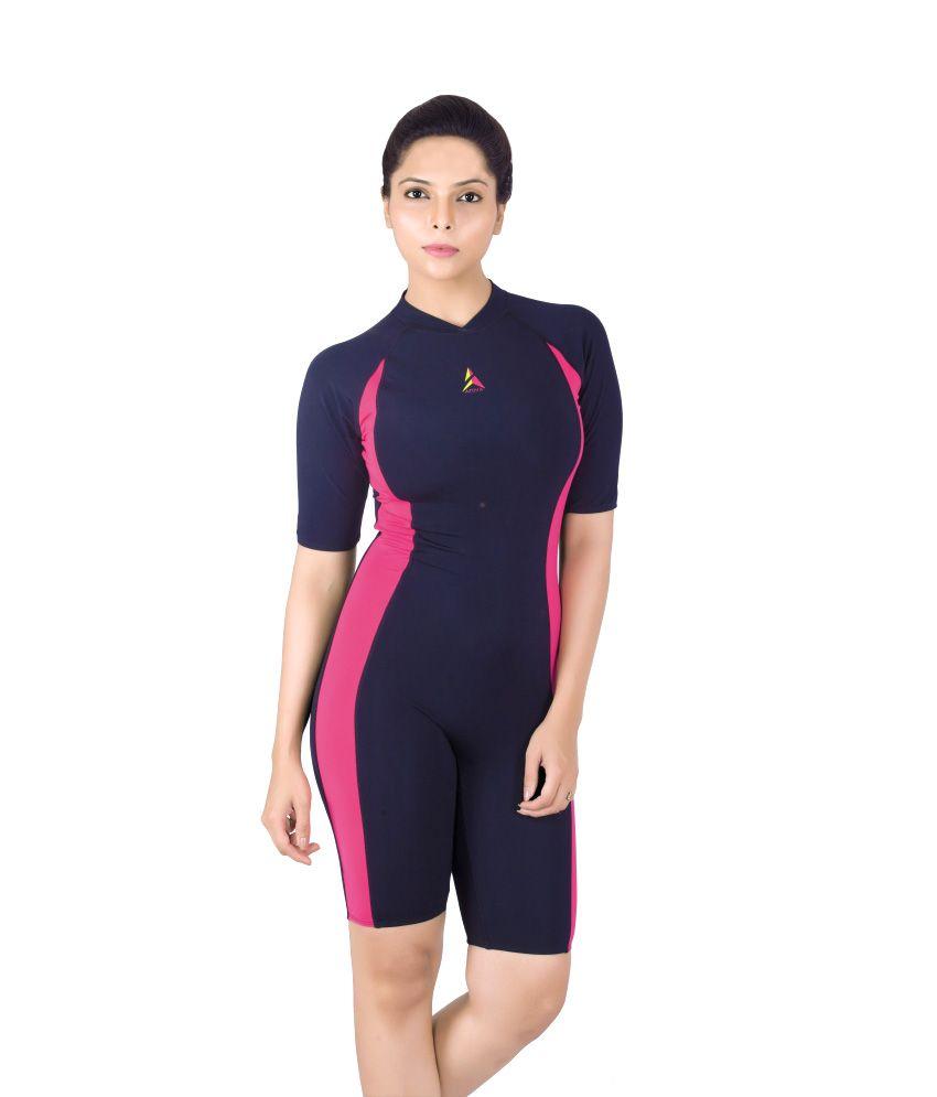 Attiva Black and Pink Polyamide Lycra Swimwear For Women/ Swimming Costume