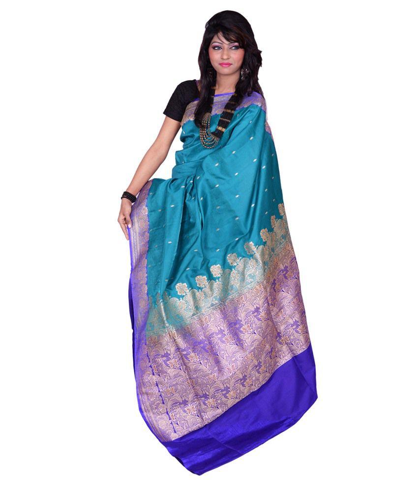 Banarasi Silk Works Blue Satin Embroidered Saree With Blouse Piece