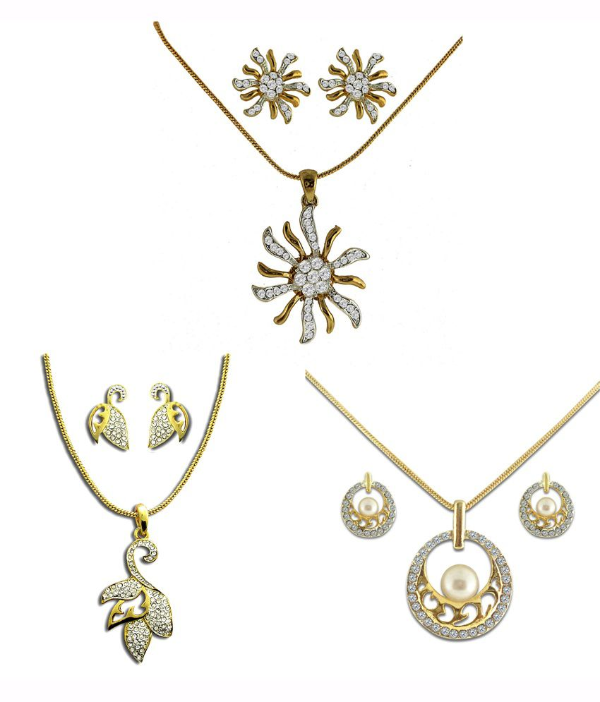Dg Jewels White Alloy Pendant With Chain