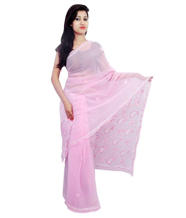 Fashion Beats Lite Pink Lucknowi Chikankari Saree