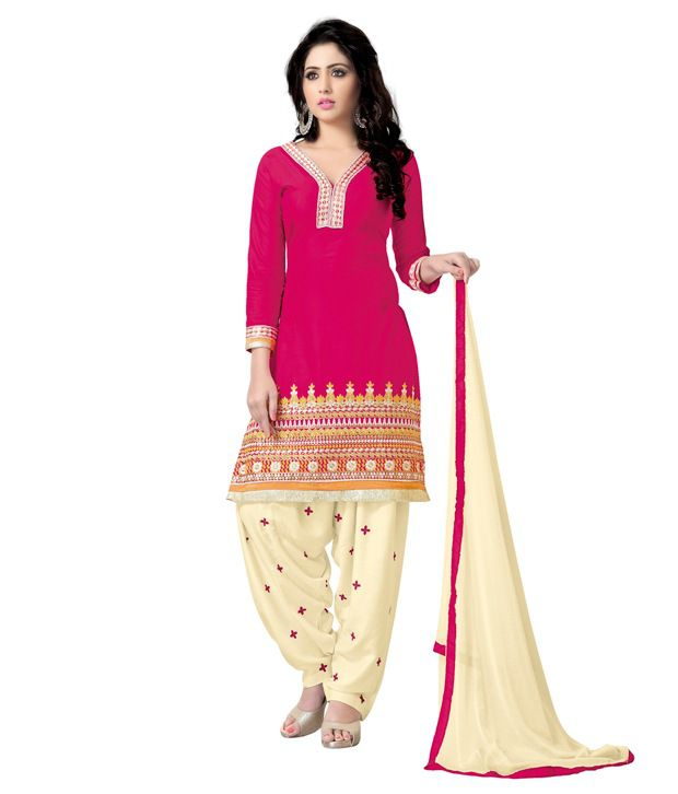 Sbt Pink Cotton Embroidered Patiala Dress Material With 3