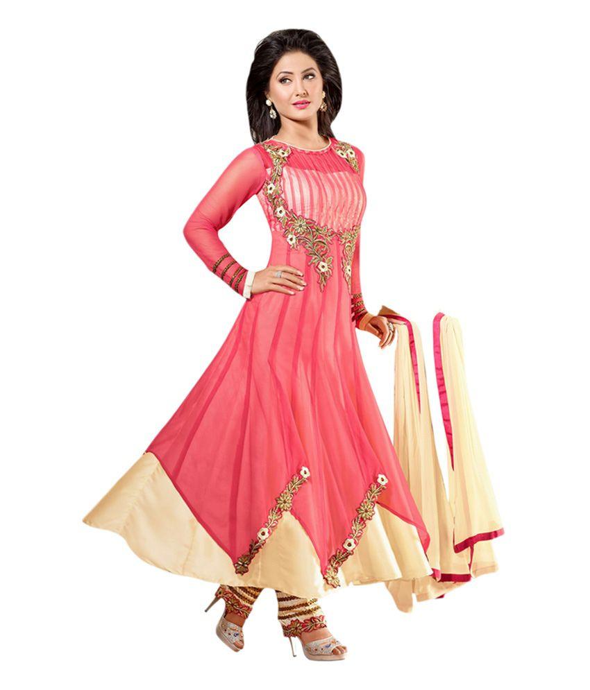 SVM Pink Pure Georgette Embroidered Anarkali Salwar Suit