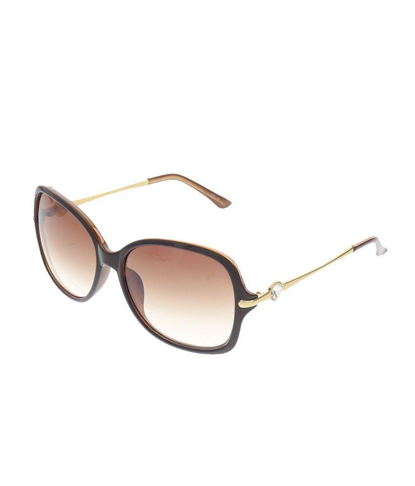Feel Brown Frame Polycarbonate Oval Sunglasses Feelfe055-02