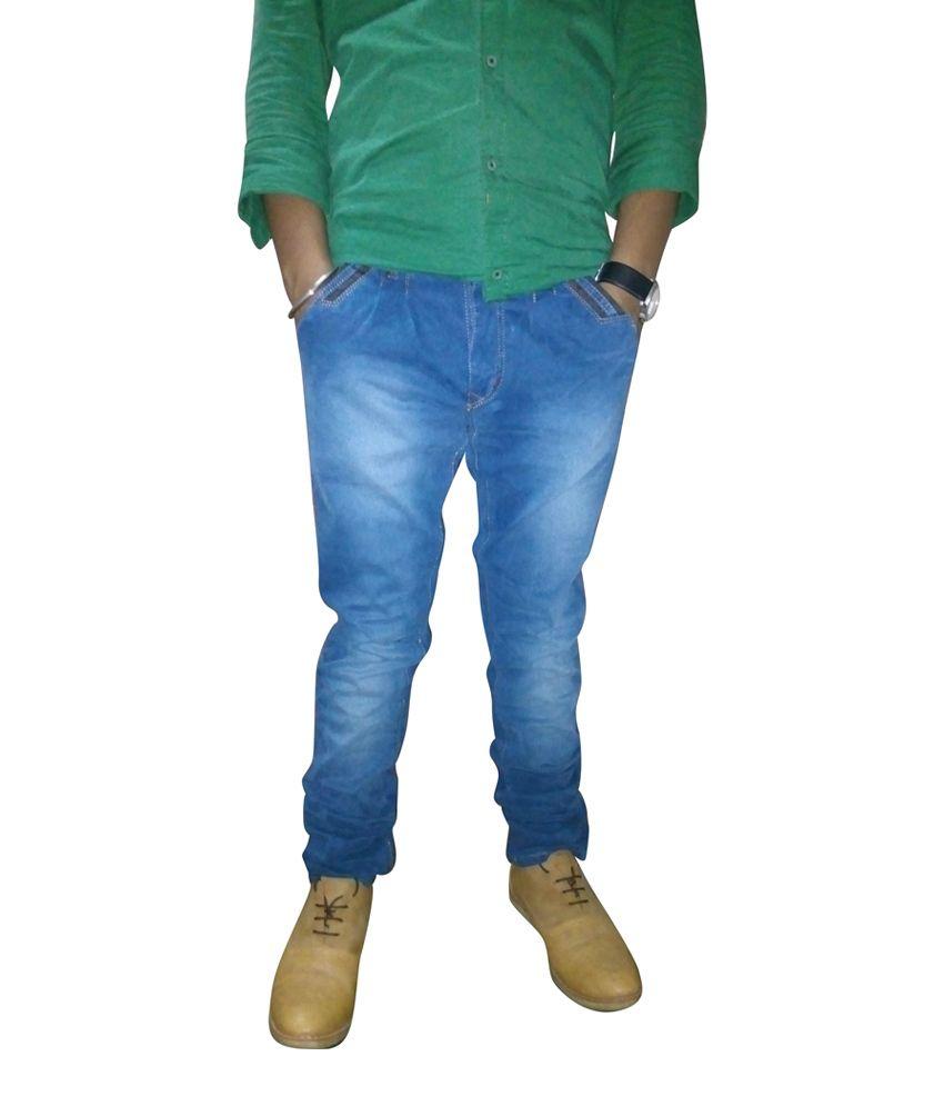 Fruspy Blue Cotton Basics Slim Fit Jean