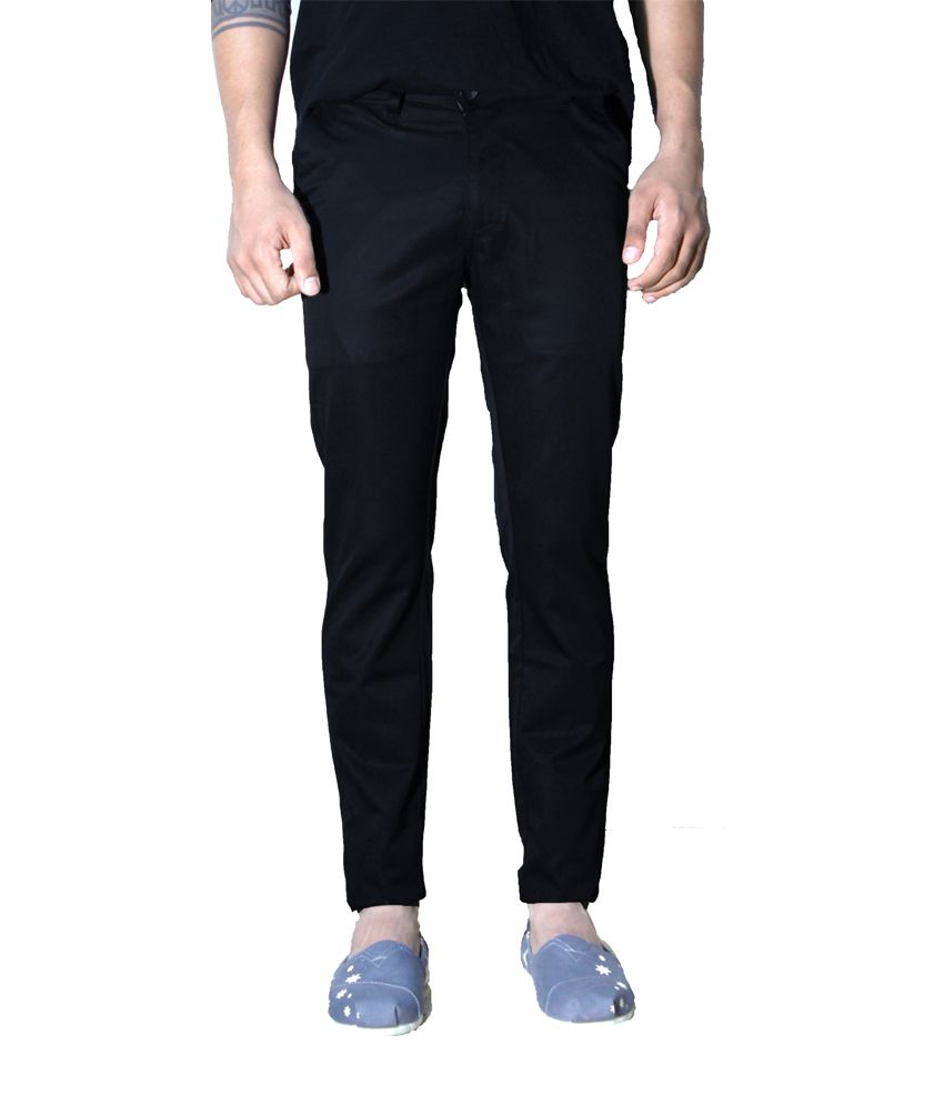 Indilab Black Cotton Lycra Slim Fit Pant