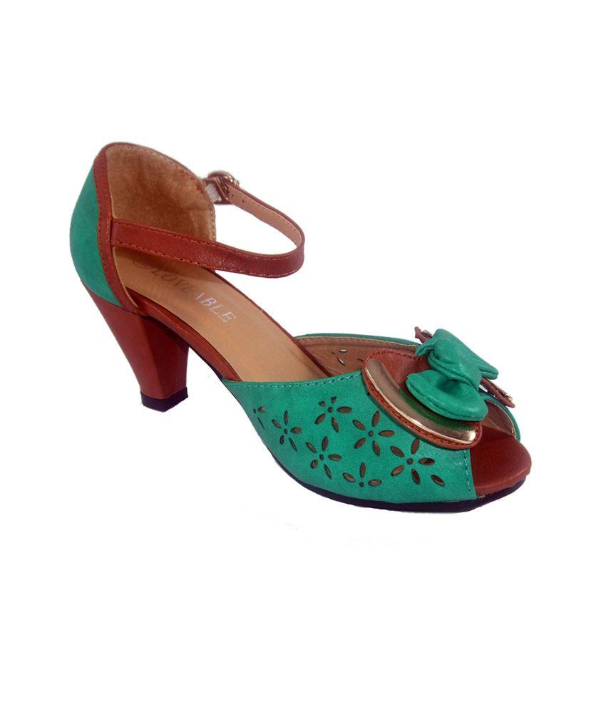 Loveable Multicolour Leather Resin Sole Cone Shaped Medium Heel Sandal
