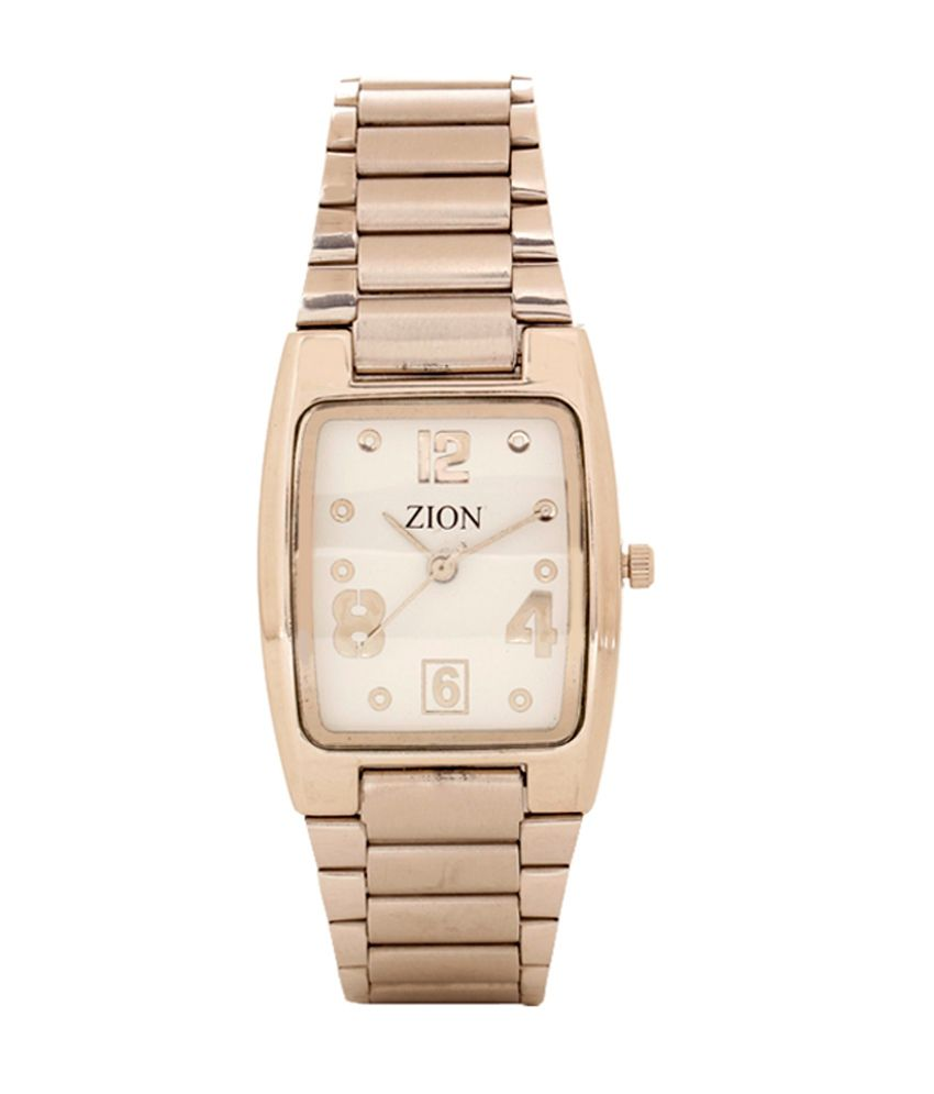 Zion White Analog Quartz Rectangular Casual Couple Watch Combo
