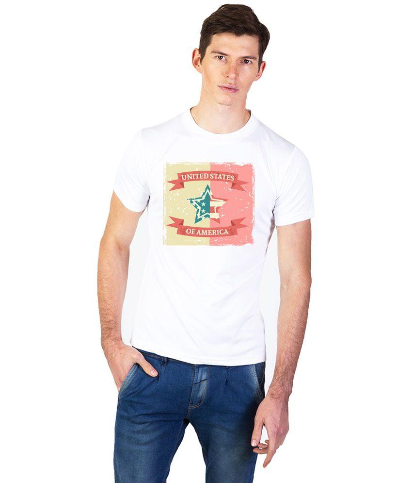 Effit White Cotton Round Neck T Shirt