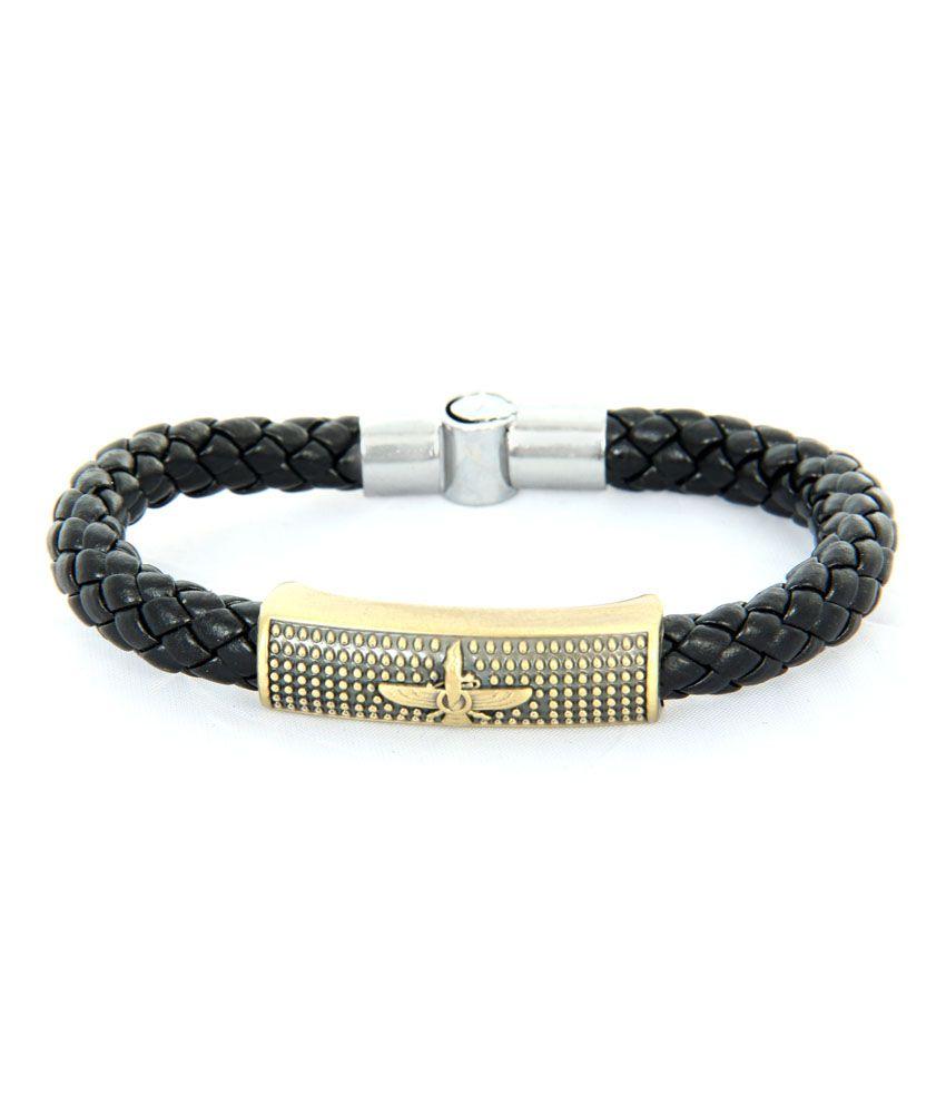 Kaizer Jewelry Black Stainless Steel Gold Foil Men's Bracelet