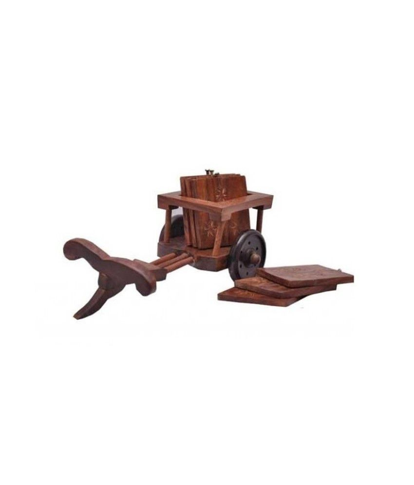 Onlineshoppee Brown Wooden Cart Shaped Coaster Set