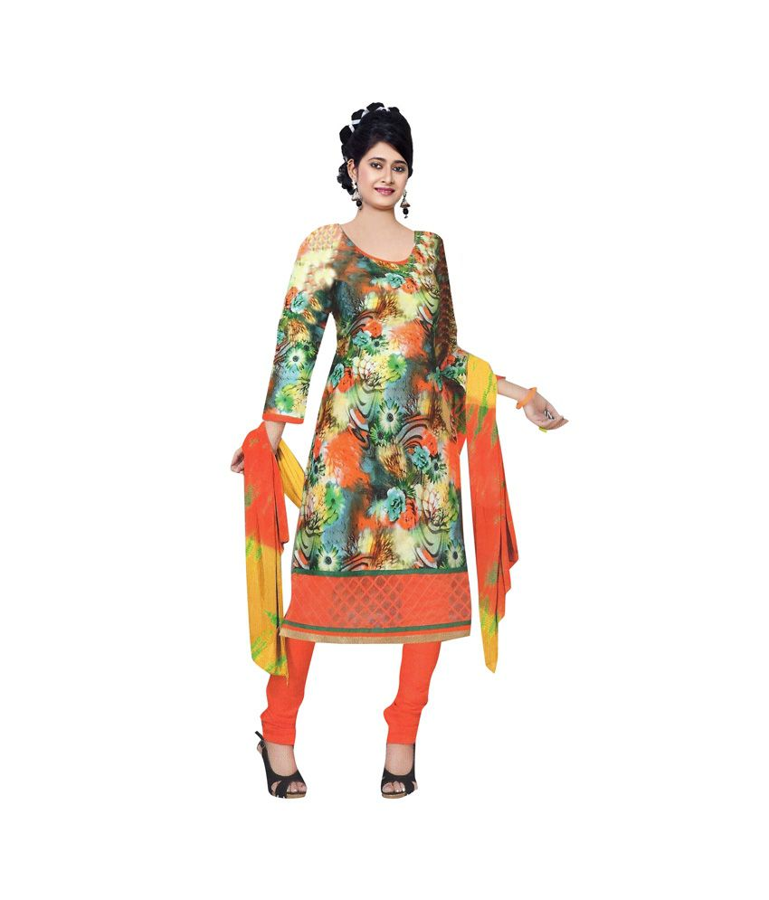 Sandhya Sharma Multi Color Cotton Embroidered Dress Material