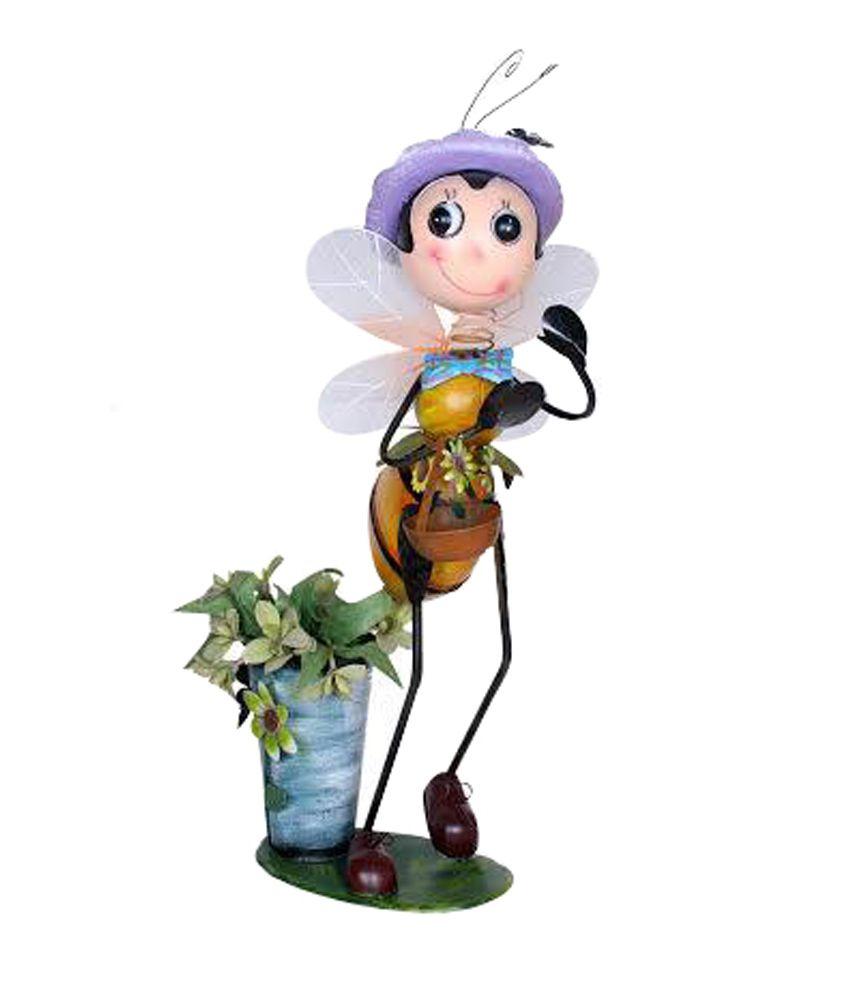 Wonderland Yellow Iron Garden Bee Pot