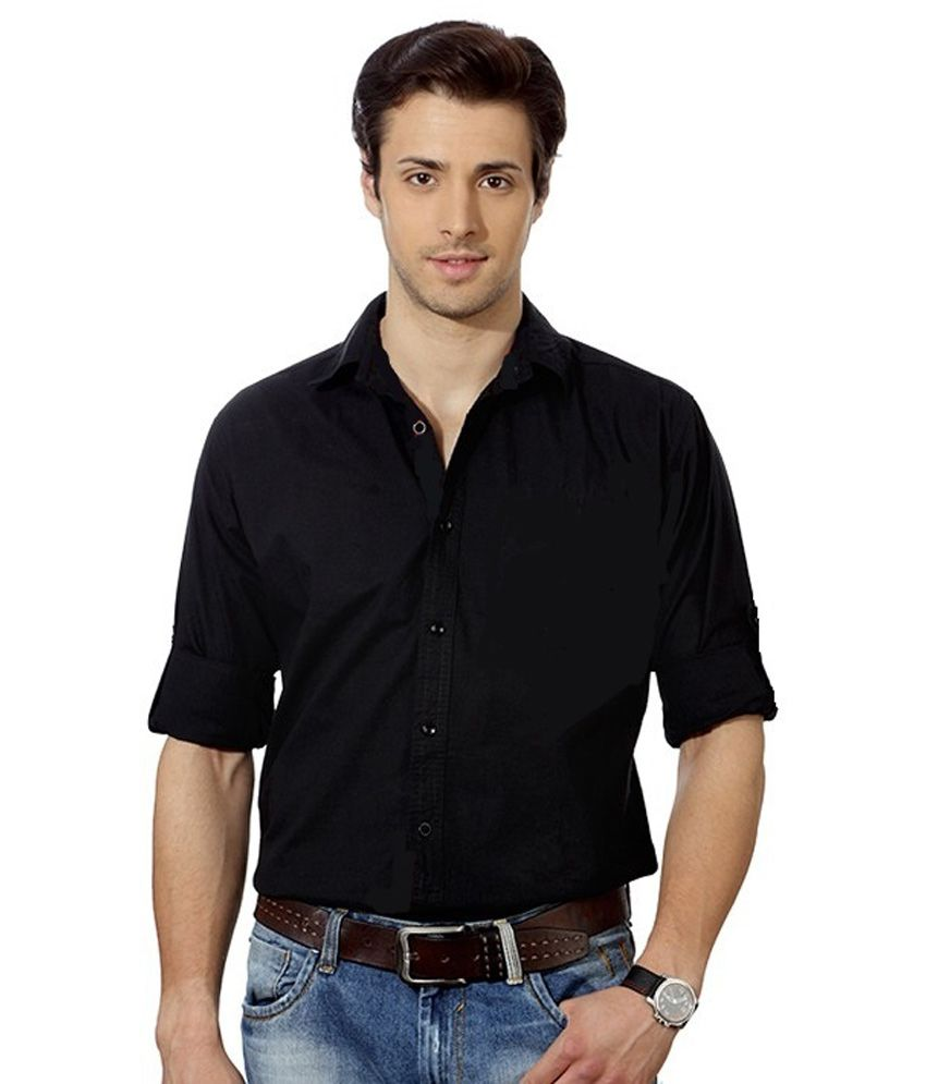 9h black cotton slim fit casual shirt buy 9h black