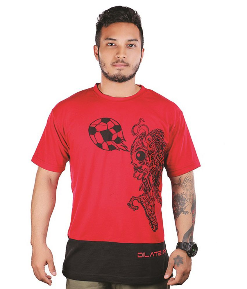 Dilet Ink Red Printed Cotton Round Neck Half Sleeves T-Shirt