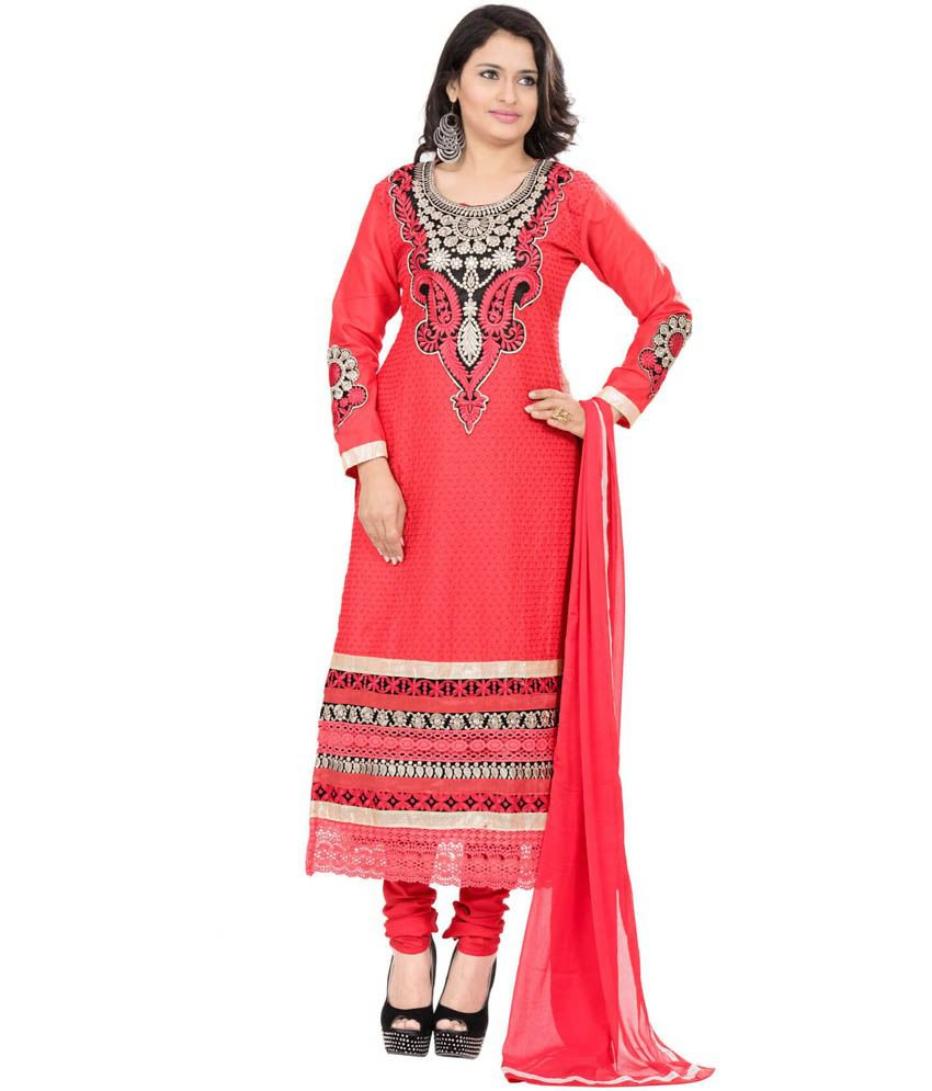 Heena Fashion Pink Embroidered Unstitched Cotton Dress Material