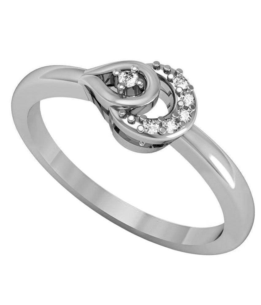 Omaya Silver Wedding & Engagement Diamond Ring