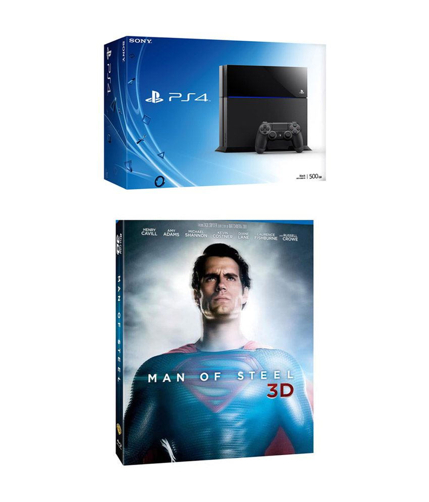 Sony Playstation 4 (PS4) with Man of Steel Blu-ray 3D