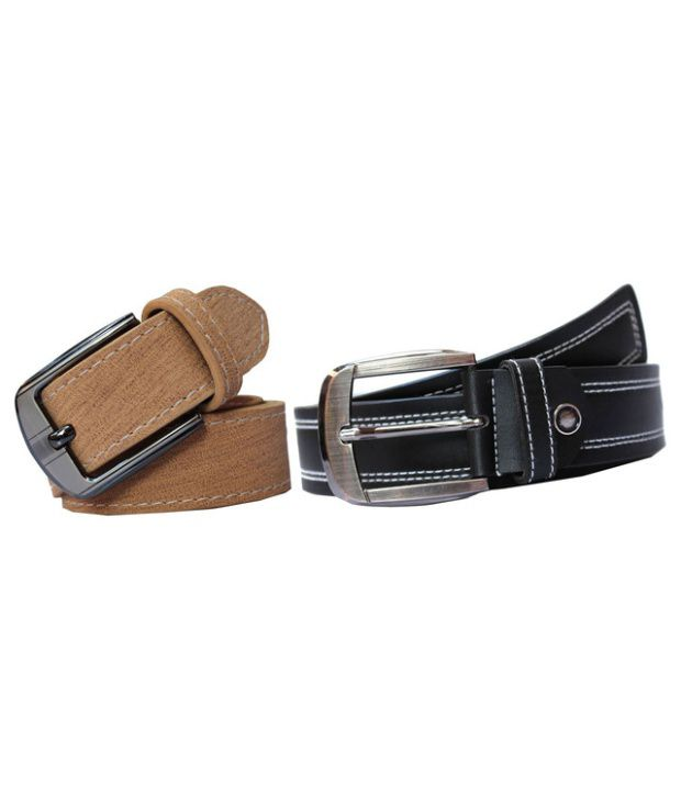 Winsome Deal Black And Beige Leather Belt For Men (Combo of 2)