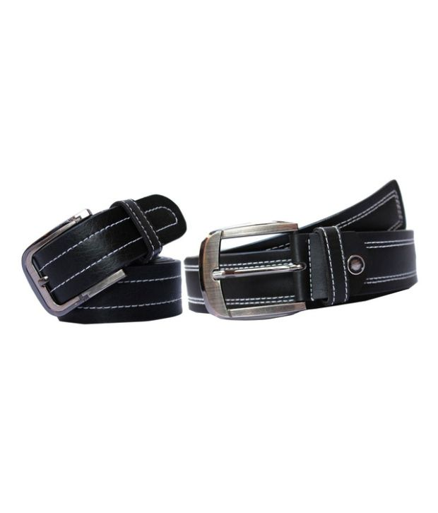 Winsome Deal Black Leather Belt For Men (Combo of 2)