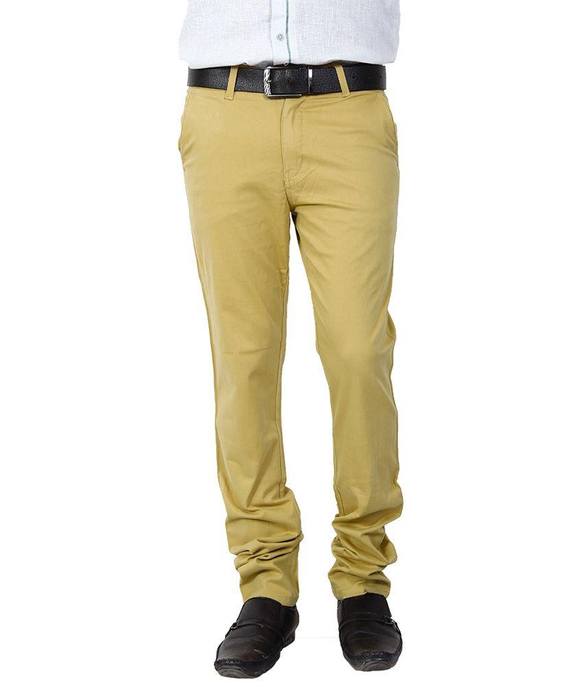 Crocks Club Beige Cotton Regular Fit Formal Trouser