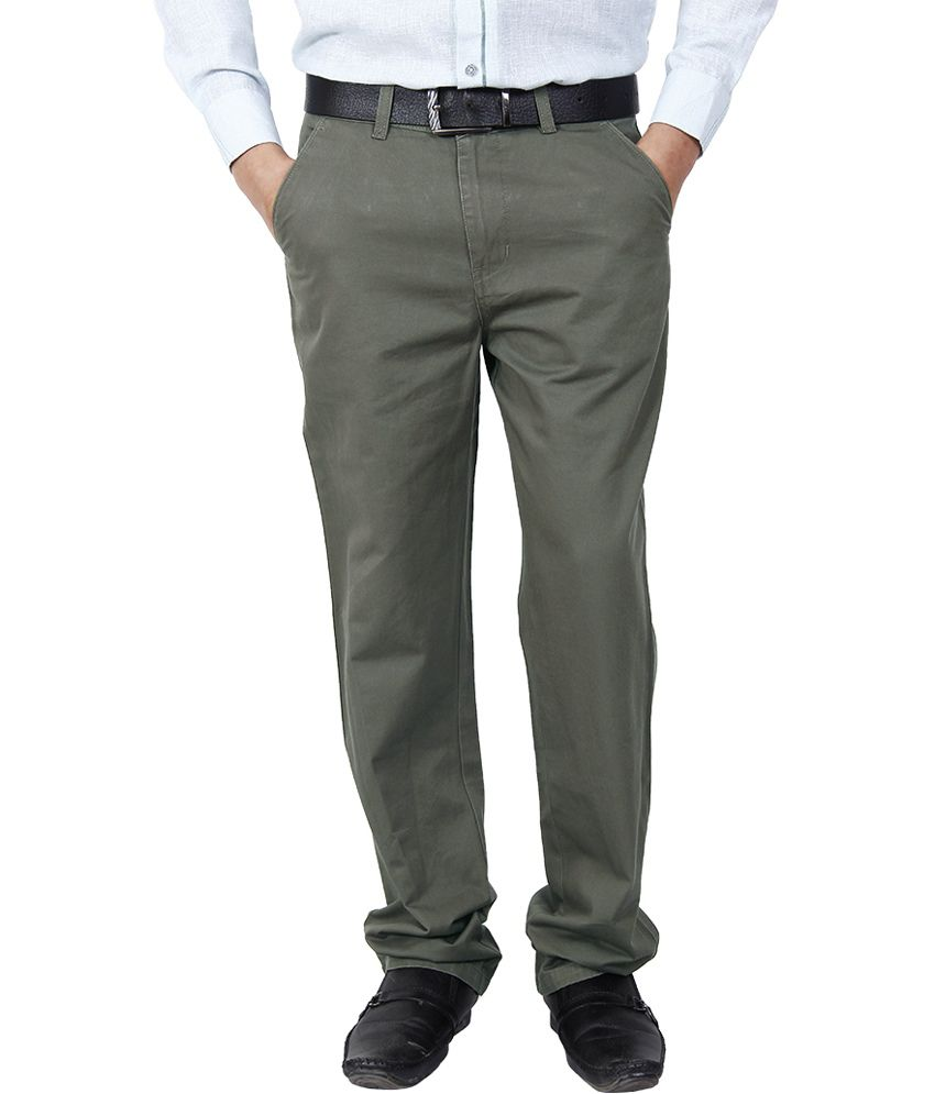 Crocks Club Gray Cotton Regular Fit Formal Trouser