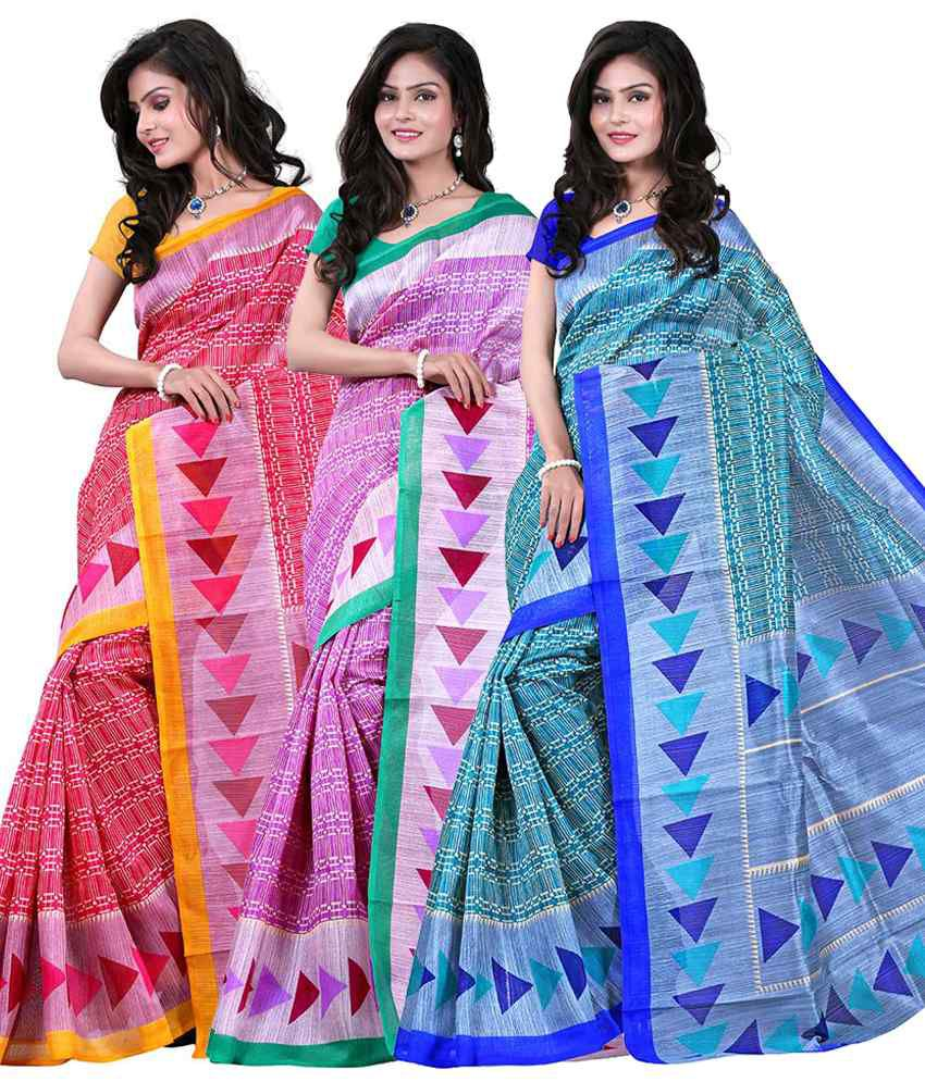Rajsilk Chhapa Silk Printed Sarees Pack of 3