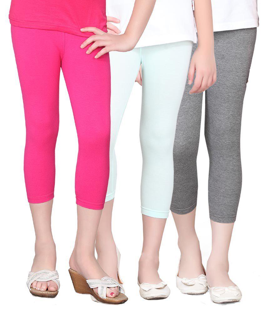 Sini Mini Multi color Cotton Capris - Pack of 3