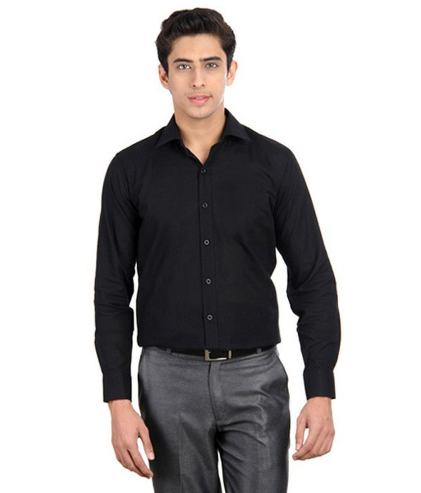 9h black solid cotton casual shirt buy 9h black solid