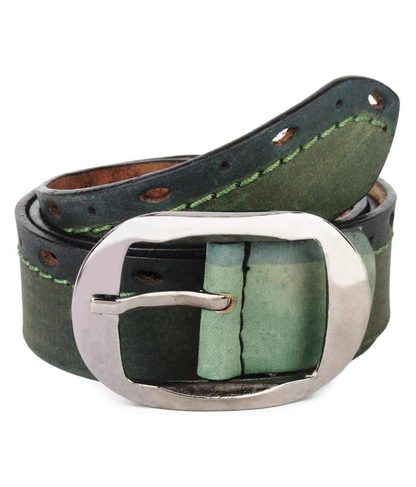 Alanta Green Leather Single Formal Pin Buckle