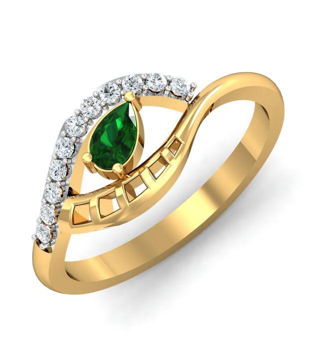 My Diamond Jewellery MDJ Elegant Diamond Green Ladies Ring