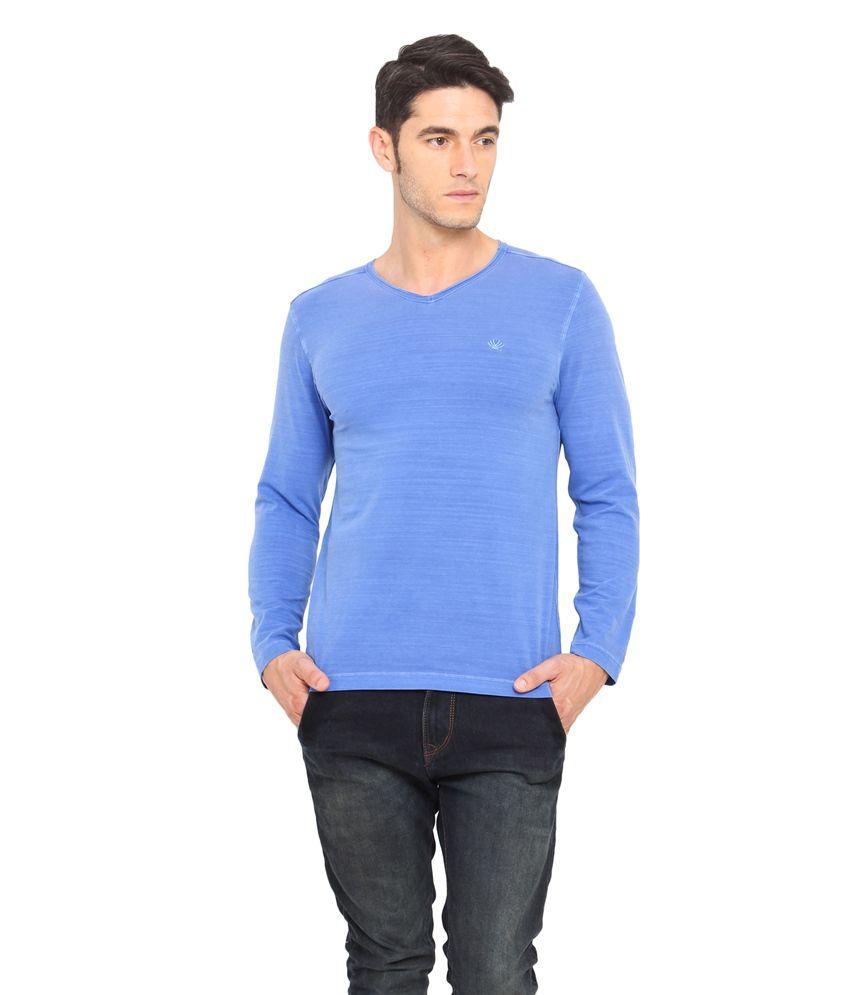 Smokestack Blue Cotton V-Neck Full Sleeves Basics T-Shirt