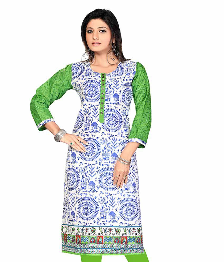 Karan Shiffon Cotton Jaipuri Printed Long Kurtis