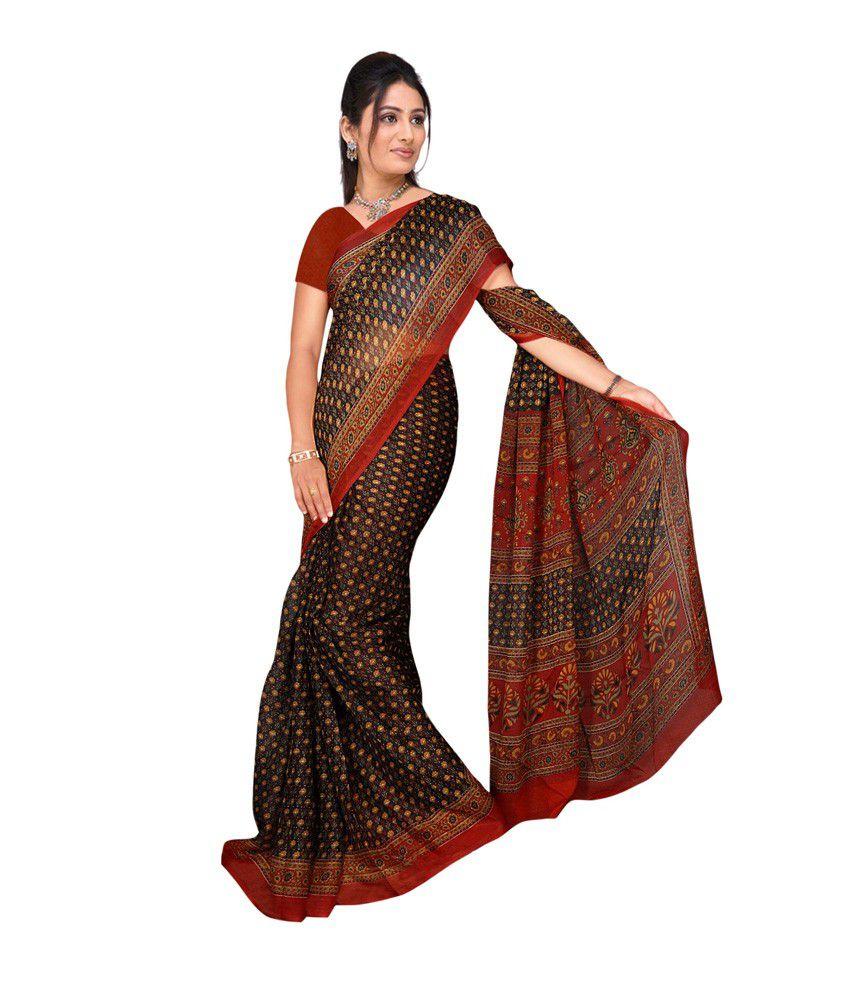 31ae5ffb110693 Abhilasha Black Faux Chiffon Printed Saree With Blouse Piece - Buy  Abhilasha Black Faux Chiffon Printed Saree With Blouse Piece Online at Low  Price ...