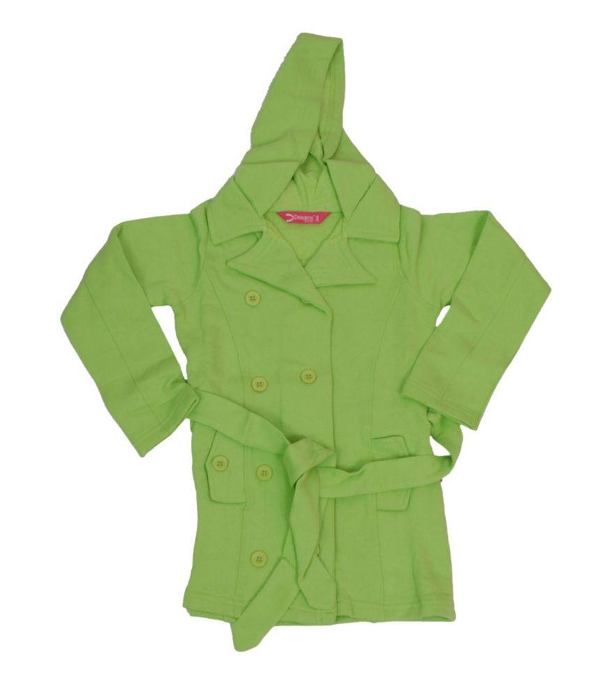 Dreamszone Green Cotton Full Sleeve Hood Jacket