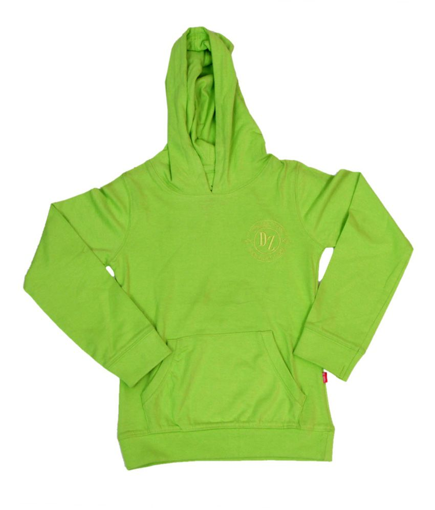Dreamszone Green Cotton Hooded Sweatshirt