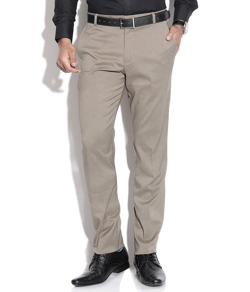 Fizzaro Beige Cotton Formal Trouser
