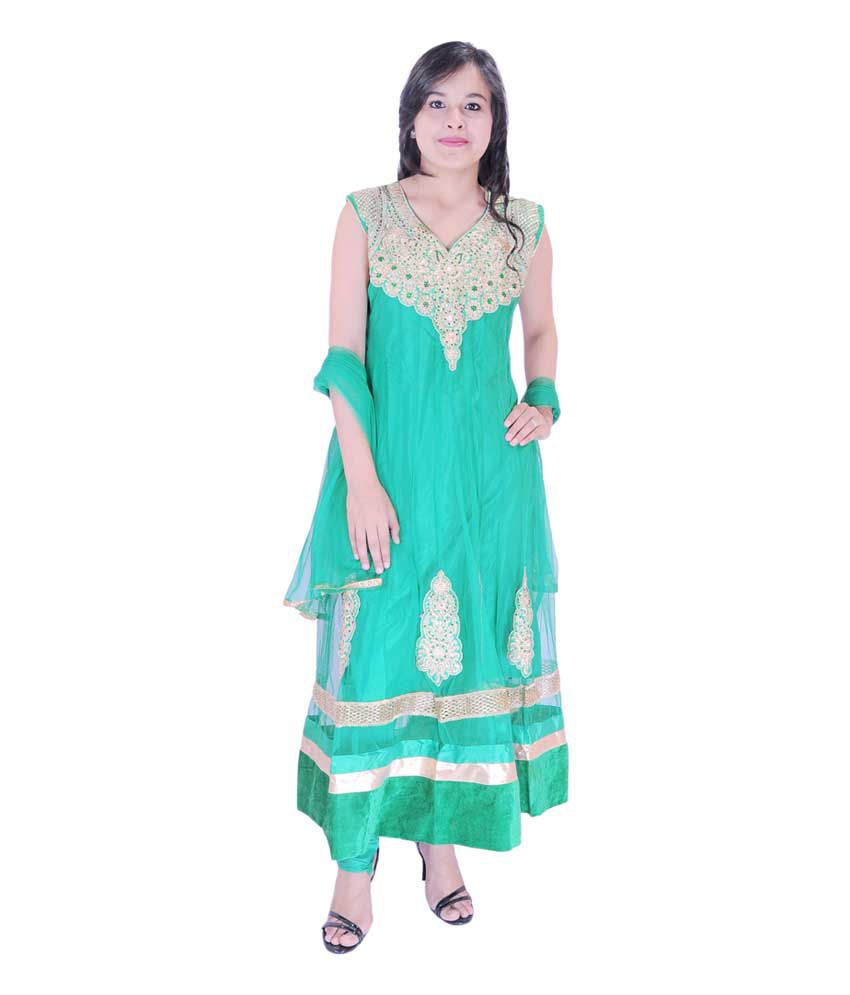 Krazzy Collection Gorgeous Green Net Stitched Anarkali Salwar Suit