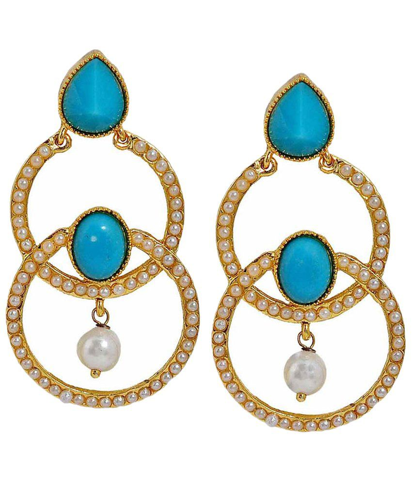 Maayra Exquisite Blue & Golden Crystal Drop Earrings