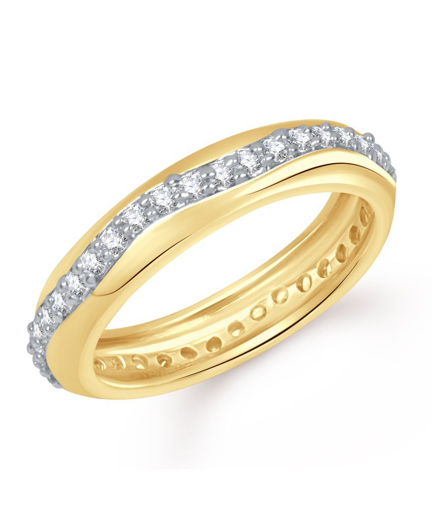 Vk Jewels Love Band Gold And Rhodium Plated Ring
