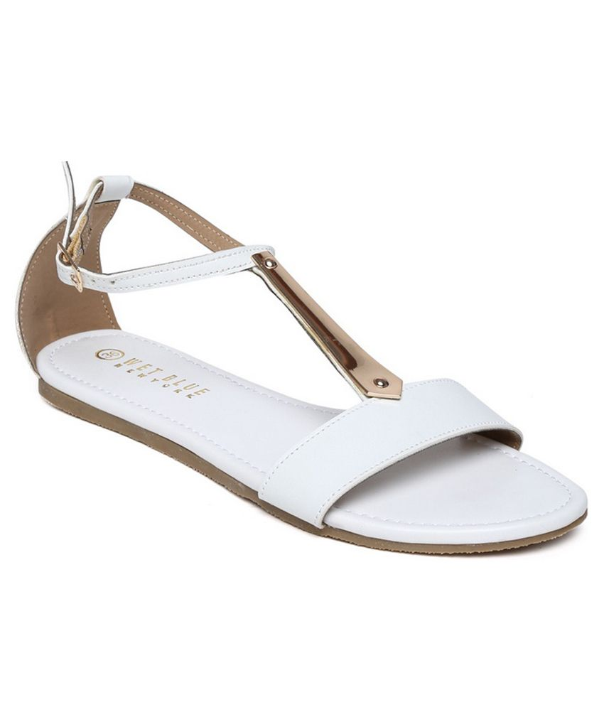 Wet Blue White Back Strap Closure Faux Leather Sandal