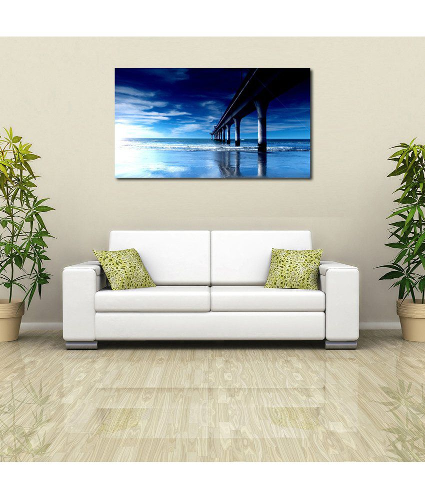 999Store Bridge In The Sea Printed Modern Wall Art Painting - Large Size