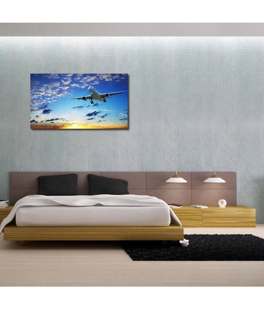 999Store Flying Aeroplane Printed Modern Wall Art Painting - Large Size