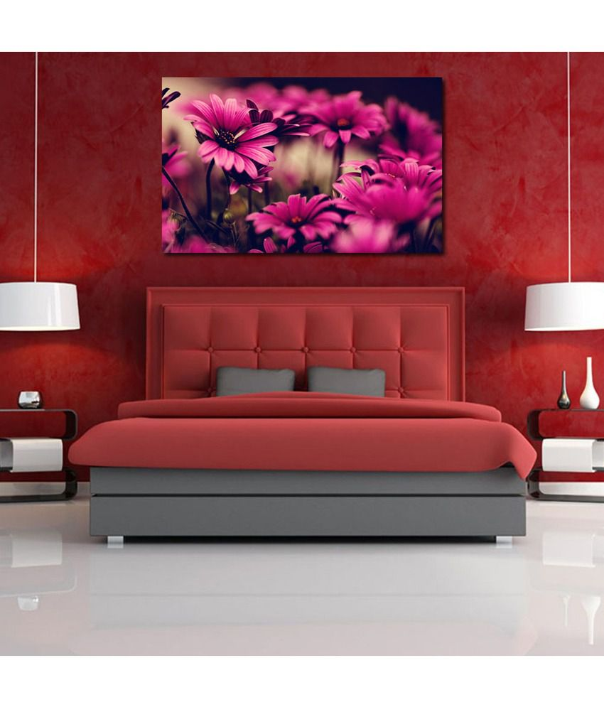 999Store Golden Daisy Flower Printed Modern Wall Art Painting - Large Size