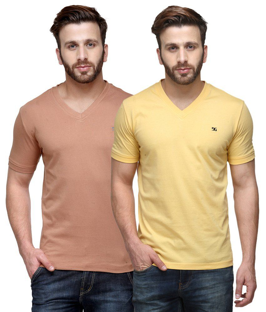 Dazzgear Combo of Regular Fit V-Neck T-Shirts - Brown & Yellow