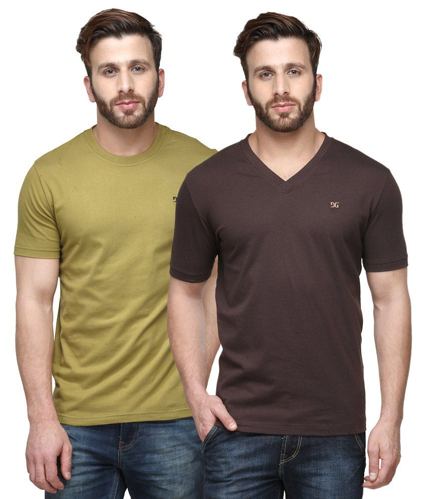 Dazzgear Combo of Regular Fit V-Neck and Round Neck T-Shirts - Green & Brown
