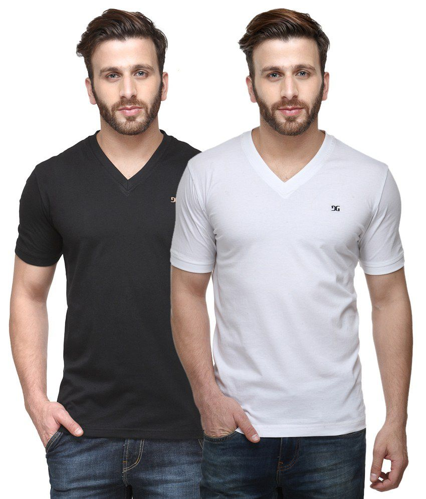 Dazzgear Combo of Regular Fit V-Neck T-Shirts - Black & White