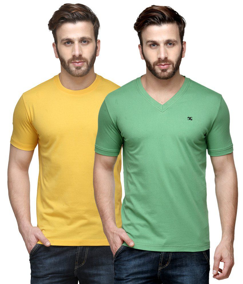 Dazzgear Combo of Regular Fit V-Neck and Round Neck T-Shirts - Yellow & Green