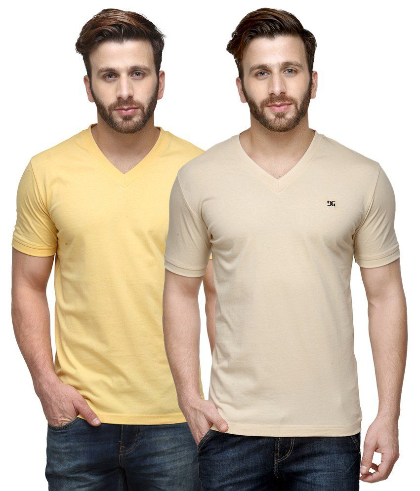 Dazzgear Combo of Regular Fit V-Neck T-Shirts - Yellow & Beige
