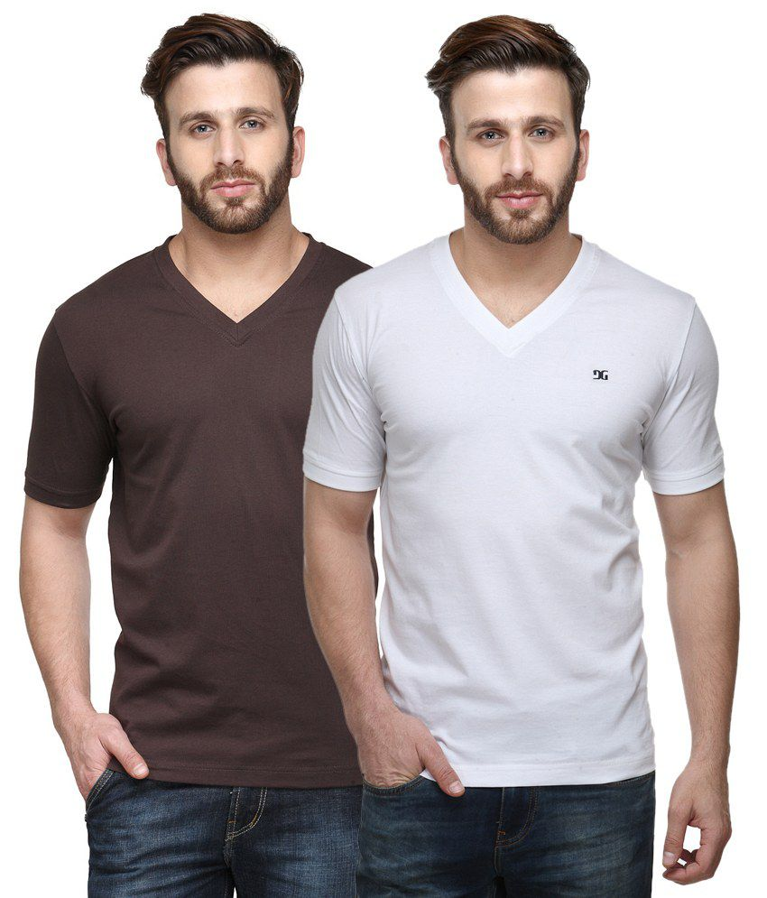 Dazzgear Combo of Regular Fit V-Neck T-Shirts - Brown & White