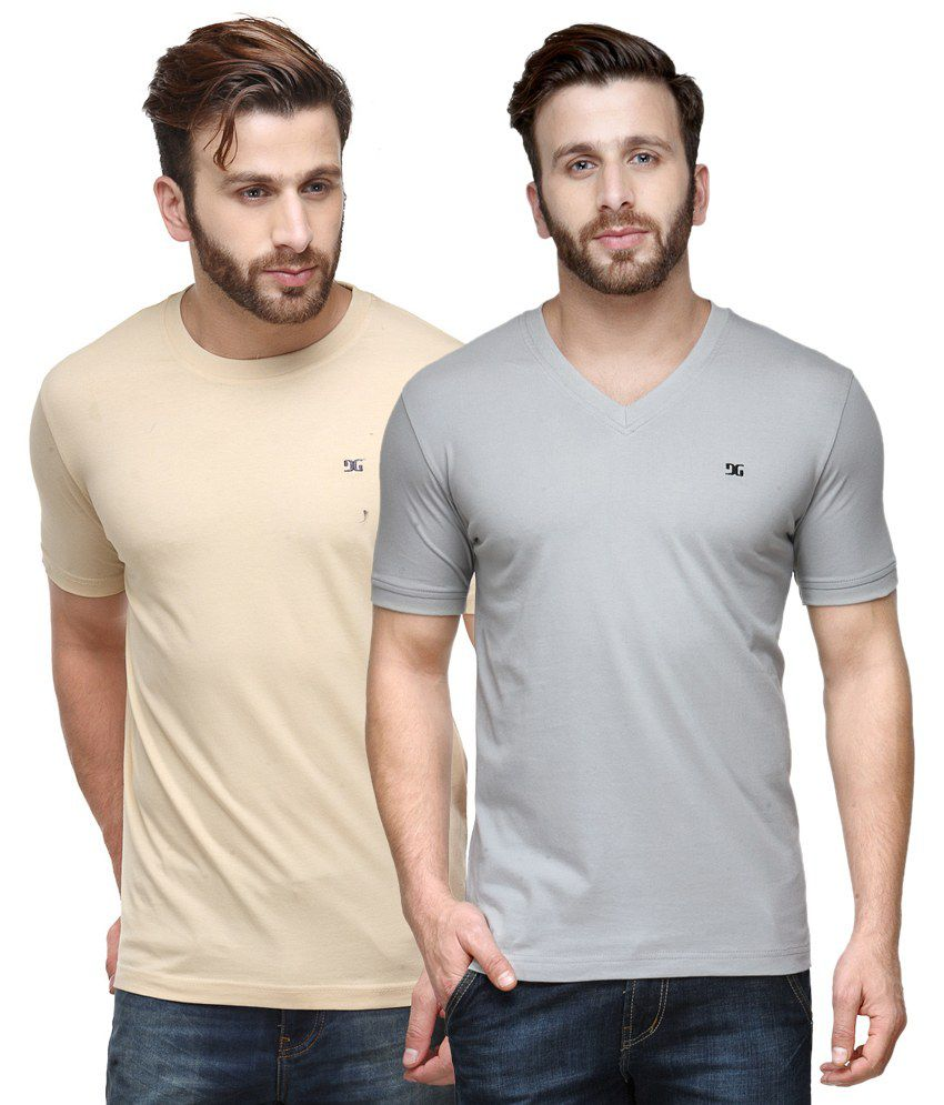 Dazzgear Combo of Regular Fit V-Neck and Round Neck T-Shirts - Beige & Off White